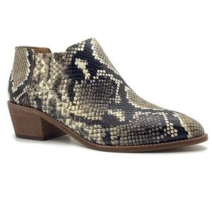 Madewell Low Chelsea Leather Snakeskin Print Boot